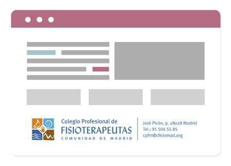 Adhesivo para tu Clínica de Fisioterapia en el Colegio de Fisioterapeutas de la CCAA de Madrid